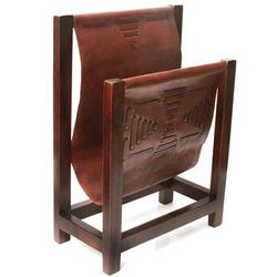 Leisure Cedar and Leather Magazine Rack