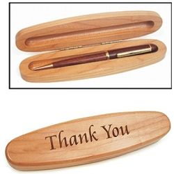 Personalized Maple Oval Pen Box with Rosewood Pen