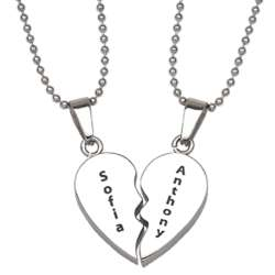 Stainless Steel Breakable Engraved Hearts Necklace