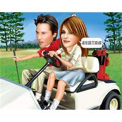 Golf Cart Cruising Caricature Art Print