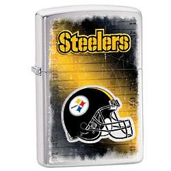 Personalized Pittsburgh Steelers Brushed Chrome Zippo Lighter
