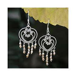 Rose Romance Pearl Flower Earrings