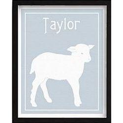 Blue Vintage-Style Lamb Framed Art Print