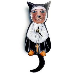 Sister Mary Meow Pendulum Clock