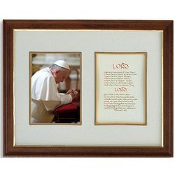 Pope Francis with Peace Prayer in Wood Frame