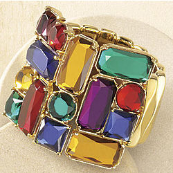 Colorama Faceted Stone Stretch Bracelet