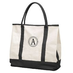 Oversized Black and Tan Canvas Tote