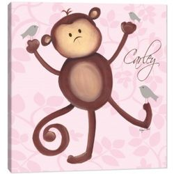 Pink Canvas Monkey Wall Art