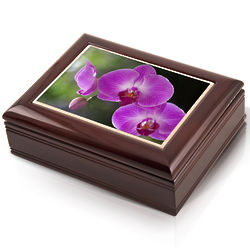 Purple Orchids Musical Jewelry Box