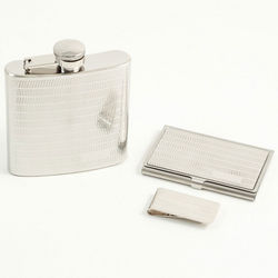 Engravable Flask, Money Clip, and Business Card Case Gift Set