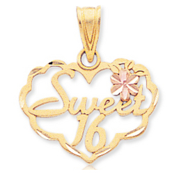 14k Two Tone Gold Lovely Flower Sweet 16 Heart Pendant