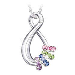 Swarovski Crystal Birthstone Mother's Infinite Joy Pendant