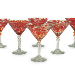 Crimson Swirl Memoirs Martini Glasses