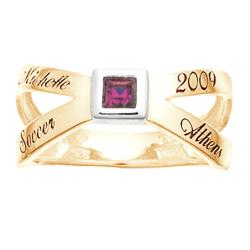 Ladies Cross Over Square Birthstone Class Ring