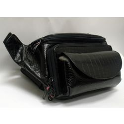 Leather Croc Print Waist Pack with Glasses Pocket