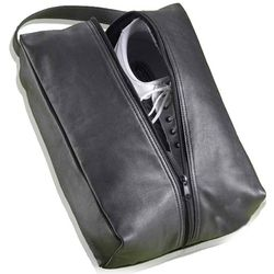 Black Leather Golf Shoe Bag