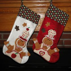 Polka Dot Gingerbread Man Personalized Christmas Stocking