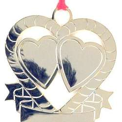 Engraved Double Hearts Christmas Ornament