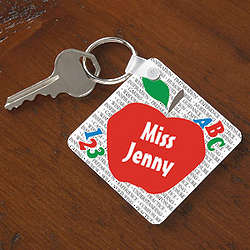 Personalized Red Apple Teacher Keychain