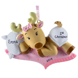 Personalized Baby Girl's 1st Christmas Reindeer Ornament