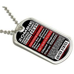 United States Zombie Hunting License Permit Military Dog Tag
