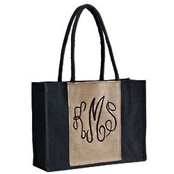 Black and Tan Jute Tote