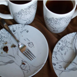 Personalized Apple Tree Fine Dessert Plates and Mugs