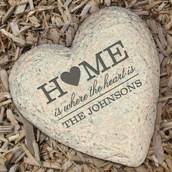 Engraved Family Heart Garden Stone