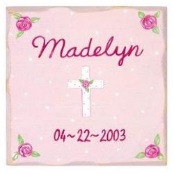 Personalized Pink Cross Wall Art