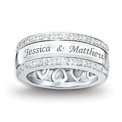 """Our Forever Love"" Personalized Sterling Silver Diamond Ring"