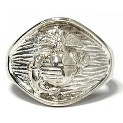 Sterling Silver U.S. Marine Corps Eagle, Globe, and Anchor Ring