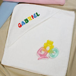 Name Embroidered Hooded Baby Towel in Primary Colors