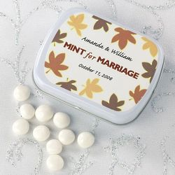 Personalized Wedding Favor Mint Tins with Heart Design