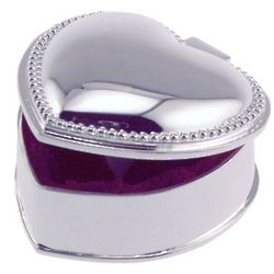 Engraved Beaded Heart Jewelry Box