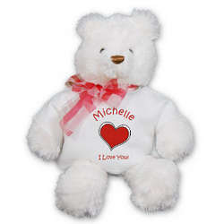 Personalized Heart White Teddy Bear