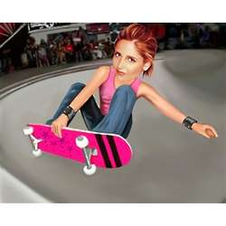 Skater Girl Caricature Art Print