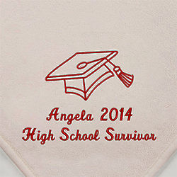 White Personalized Graduation Fleece Throw