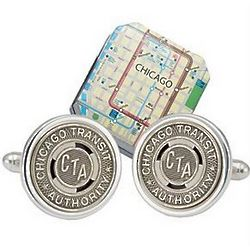 Chicago Subway Cuff Links in Sterling Silver Backing