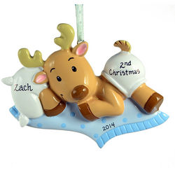 Personalized Baby Boy's 2nd Christmas Reindeer Ornament