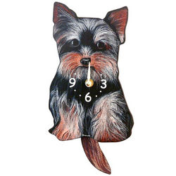 Tail Wagging Yorkie Terrier Pendulum Clock