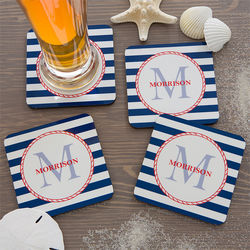 Anchors Aweigh Personalized Coaster Set