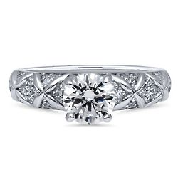 Sterling Silver CZ Criss Cross Solitaire Engagement Ring