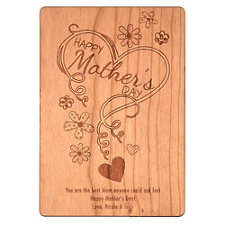 Personalized Mother's Day Hearts and Flowers Wood Postcard