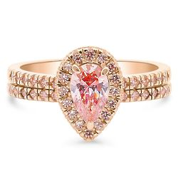 Gold-Plated Halo Ring Set with Swarovski Zirconia Pear Cut
