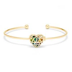 Interlocking Hearts 4mm Round Birthstone Gold Cuff Bracelet