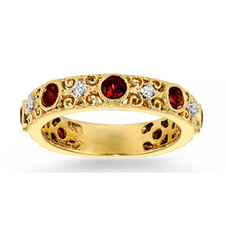 14k Yellow Gold .10Ct Diamond Garnet Stackable Ring