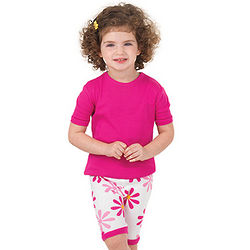 Fuchsia Daisy Short Pajamas for Toddlers