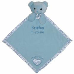 Personalized Blue Bear Baby Blanket