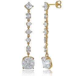 Multi-Shape CZ Dangle Earrings in 14K Gold Vermeil