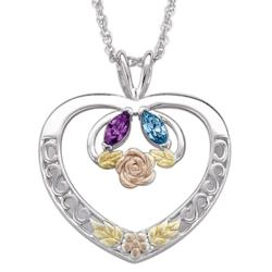 Tri-Color Sterling Silver Couple's Marquise Birthstone Pendant